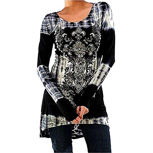 Inlefen Blusas Tallas Grandes Camisetas Goticas Vestidos Vintage Impreso Jersey Largo Cuello Redondo Blusas Manga Larga Blusas Largas Vestidos A Linea Camisetas Trabajo 4 Vintage